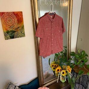 Men's salmon short sleeve vans casual shirt